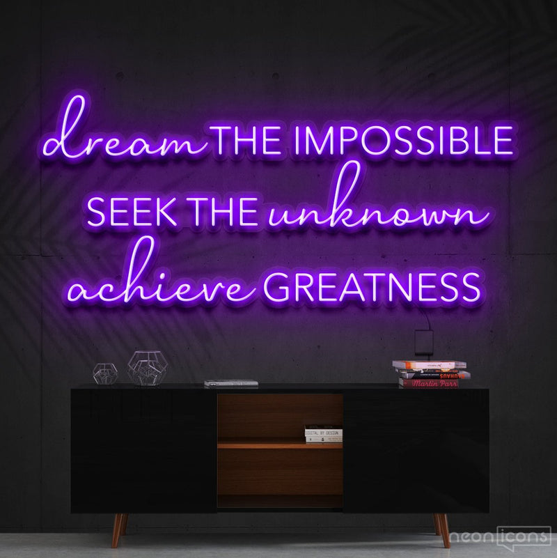 """Dream The Impossible"" Neon Sign 90cm (3ft) / Purple / Cut to Shape by Neon Icons"