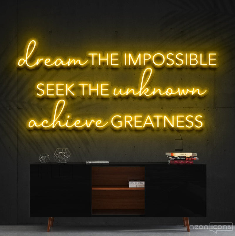 """Dream The Impossible"" Neon Sign 90cm (3ft) / Yellow / Cut to Shape by Neon Icons"