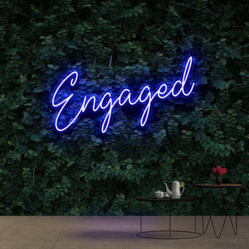 """Engaged"" Neon Sign 60cm (2ft) / Blue / Cut to Shape by Neon Icons"