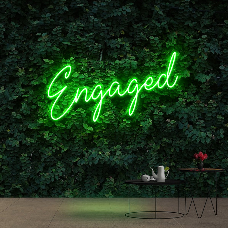 """Engaged"" Neon Sign 60cm (2ft) / Green / Cut to Shape by Neon Icons"