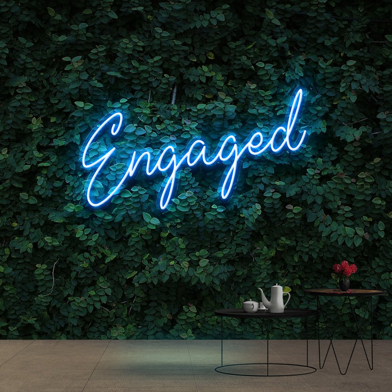 """Engaged"" Neon Sign 60cm (2ft) / Ice Blue / Cut to Shape by Neon Icons"