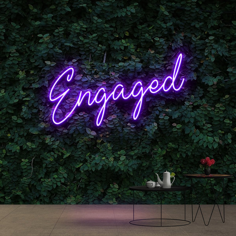"""Engaged"" Neon Sign 60cm (2ft) / Purple / Cut to Shape by Neon Icons"