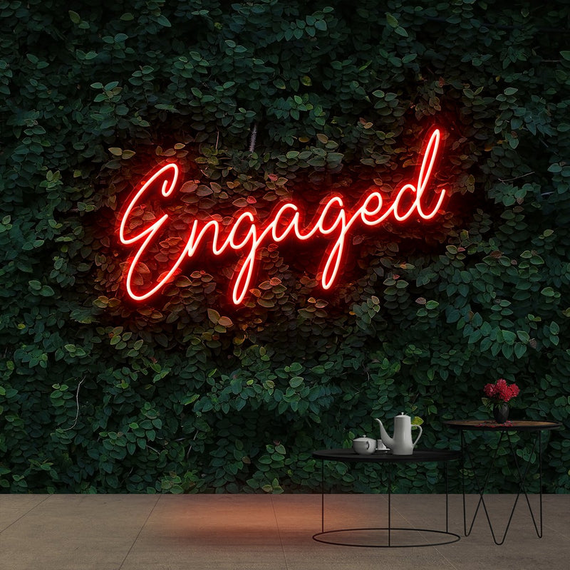 """Engaged"" Neon Sign 60cm (2ft) / Red / Cut to Shape by Neon Icons"