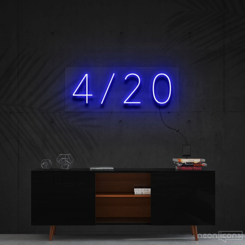 """Four Twenty"" Neon Sign 60cm (2ft) / Blue / Cut to Shape by Neon Icons"