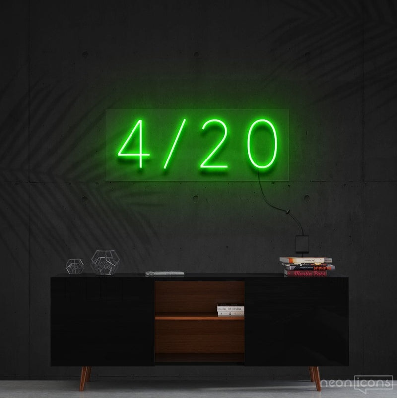 """Four Twenty"" Neon Sign 60cm (2ft) / Green / Cut to Shape by Neon Icons"