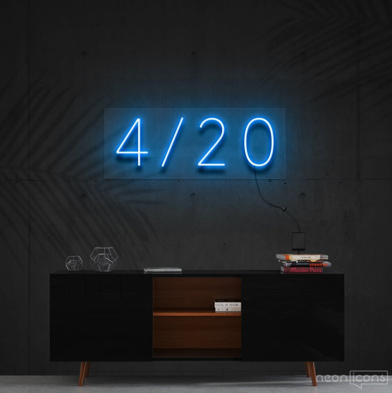 """Four Twenty"" Neon Sign 60cm (2ft) / Ice Blue / Cut to Shape by Neon Icons"