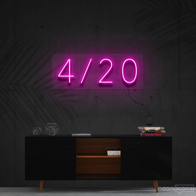 """Four Twenty"" Neon Sign 60cm (2ft) / Pink / Cut to Shape by Neon Icons"