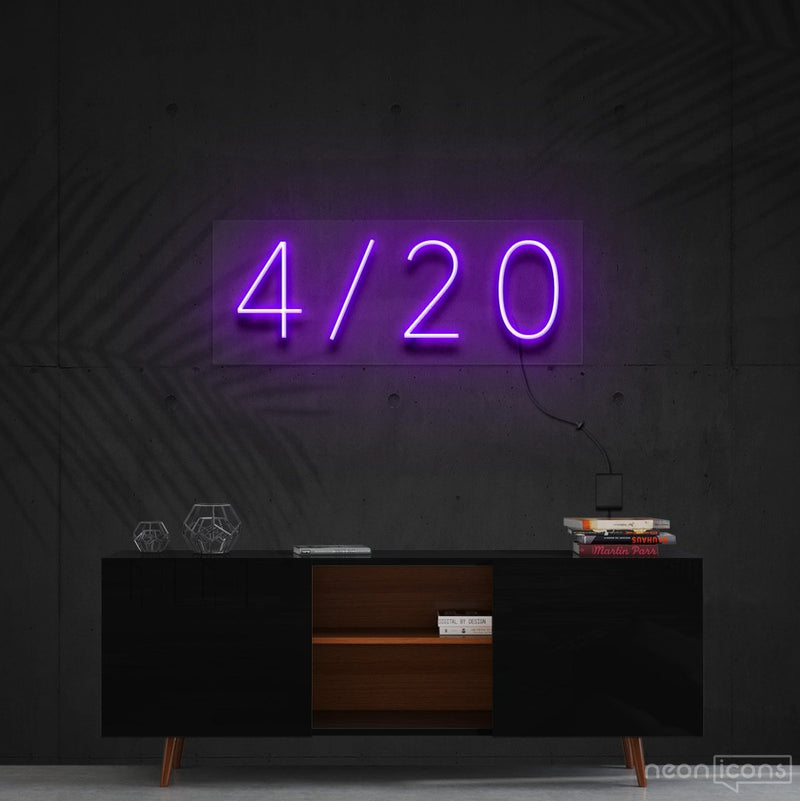 """Four Twenty"" Neon Sign 60cm (2ft) / Purple / Cut to Shape by Neon Icons"