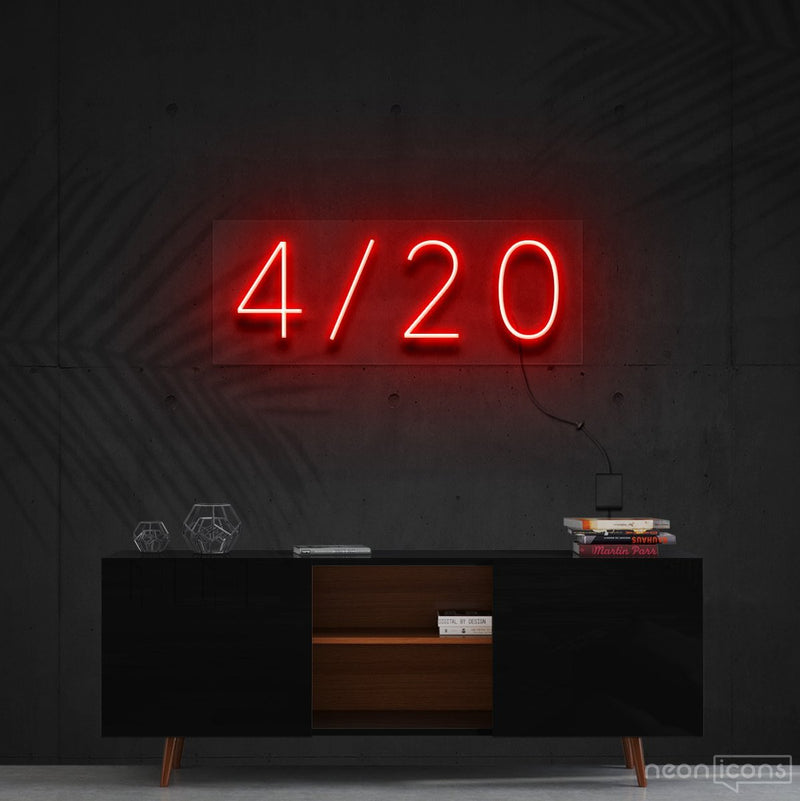 """Four Twenty"" Neon Sign 60cm (2ft) / Red / Cut to Shape by Neon Icons"