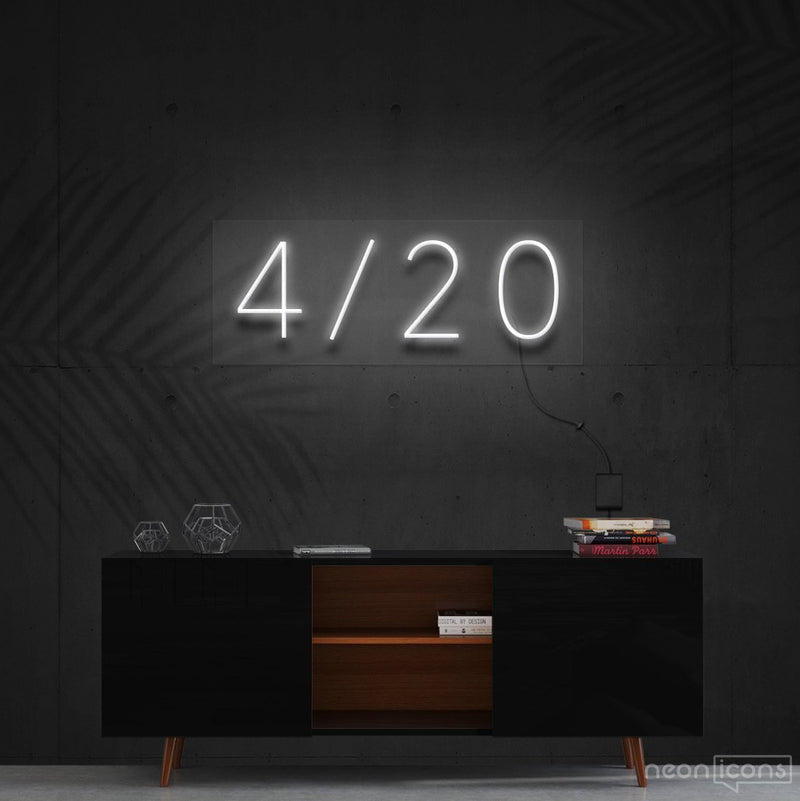 """Four Twenty"" Neon Sign 60cm (2ft) / White / Cut to Shape by Neon Icons"