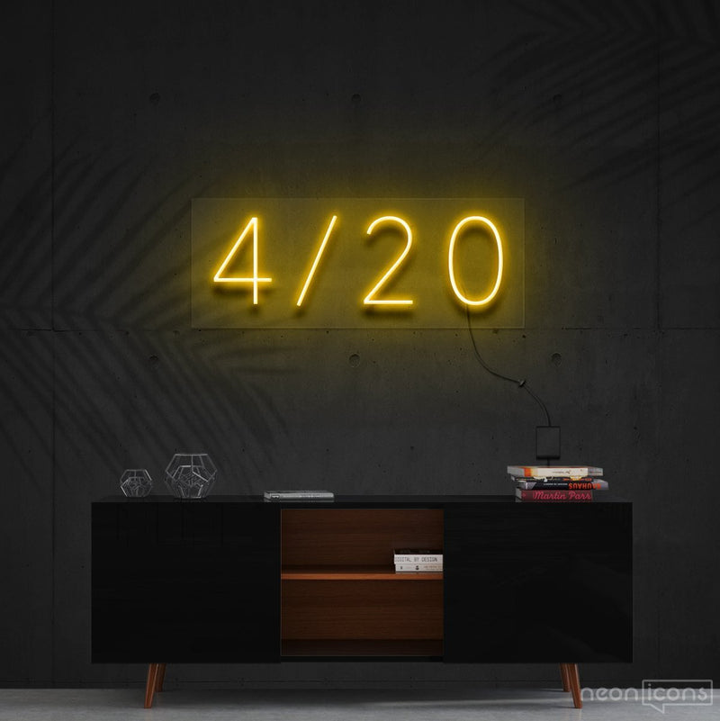 """Four Twenty"" Neon Sign 60cm (2ft) / Yellow / Cut to Shape by Neon Icons"