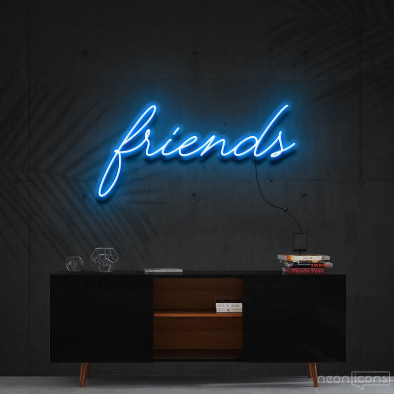 """Friends"" Neon Sign 60cm (2ft) / Ice Blue / Cut to Shape by Neon Icons"