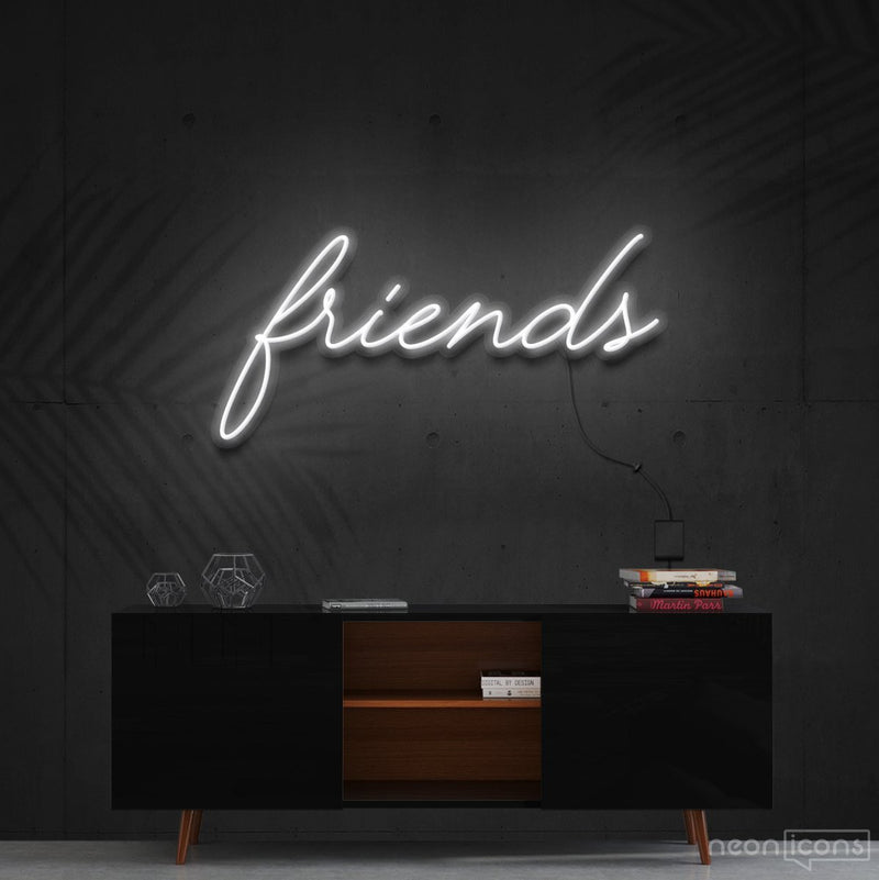 """Friends"" Neon Sign 60cm (2ft) / White / Cut to Shape by Neon Icons"