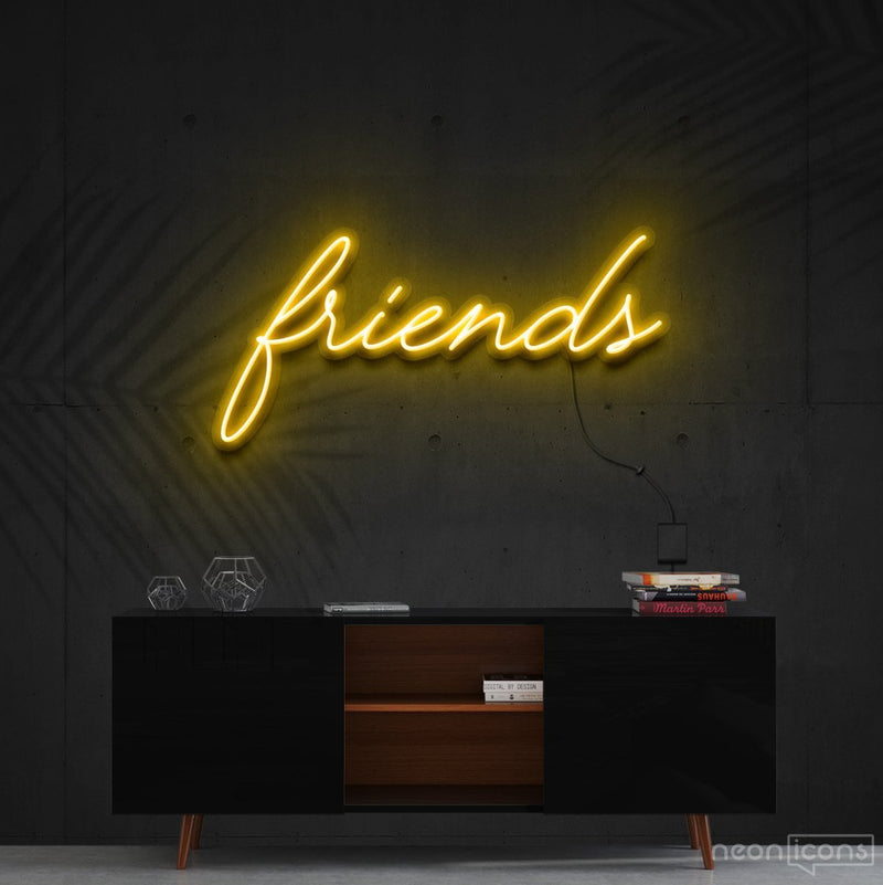 """Friends"" Neon Sign 60cm (2ft) / Yellow / Cut to Shape by Neon Icons"
