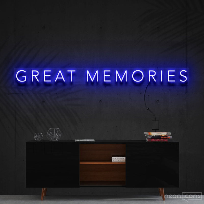 """Great Memories"" Neon Sign 120cm (4ft) / Blue / Cut to Shape by Neon Icons"