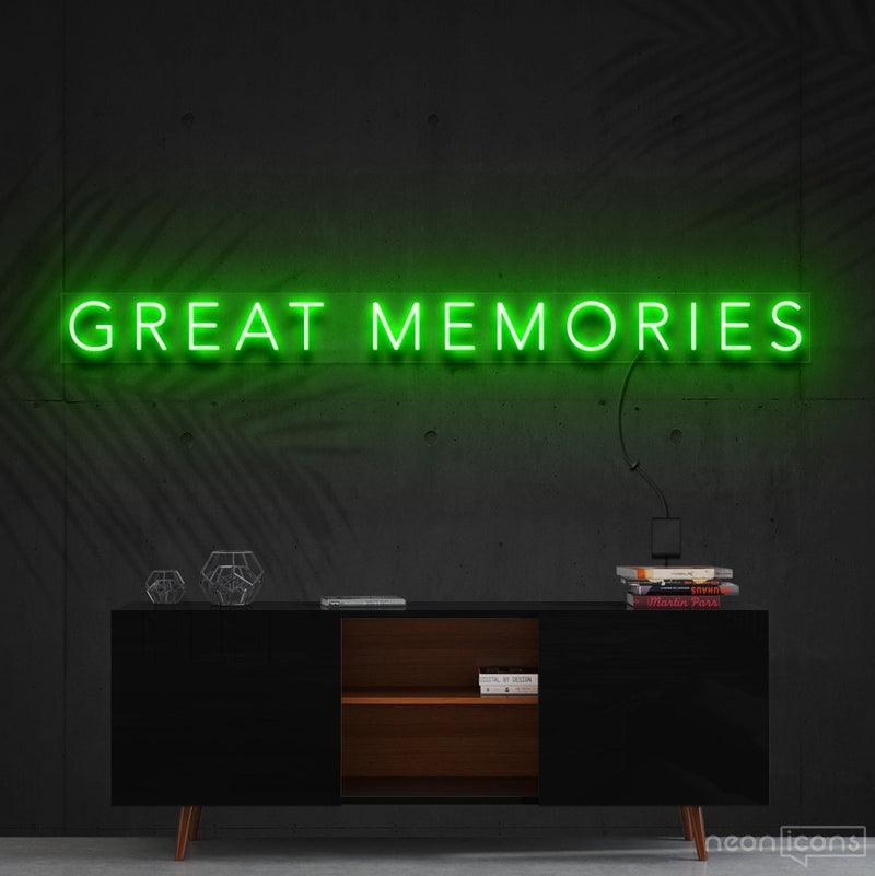 """Great Memories"" Neon Sign 120cm (4ft) / Green / Cut to Shape by Neon Icons"