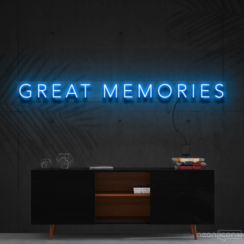 """Great Memories"" Neon Sign 120cm (4ft) / Ice Blue / Cut to Shape by Neon Icons"
