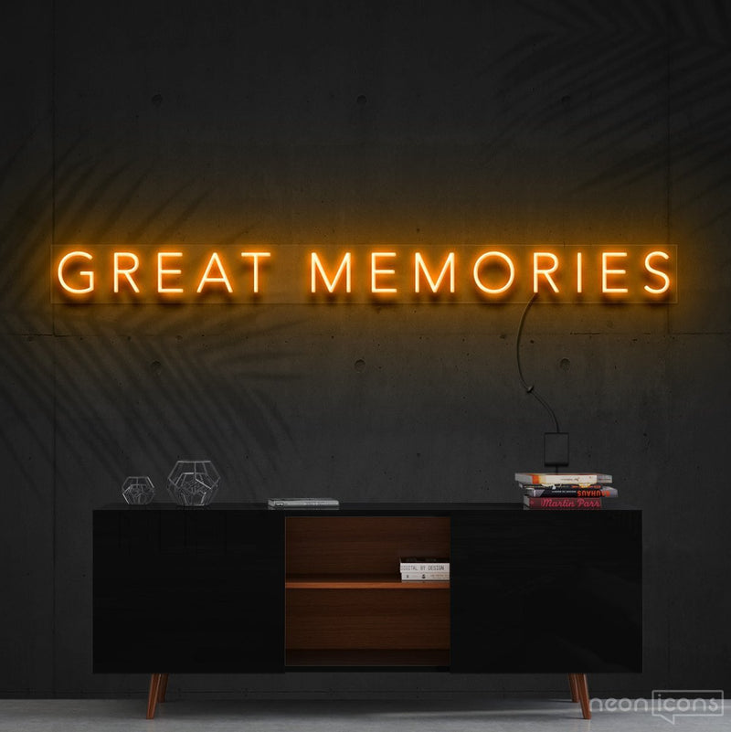 """Great Memories"" Neon Sign 120cm (4ft) / Orange / Cut to Shape by Neon Icons"