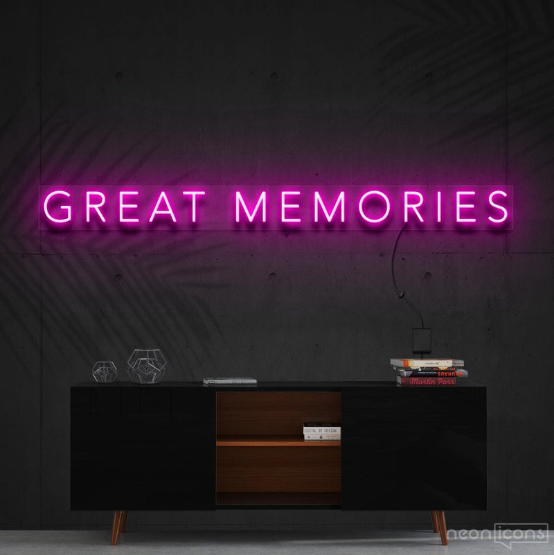 """Great Memories"" Neon Sign 120cm (4ft) / Pink / Cut to Shape by Neon Icons"