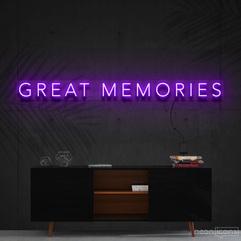 """Great Memories"" Neon Sign 120cm (4ft) / Purple / Cut to Shape by Neon Icons"
