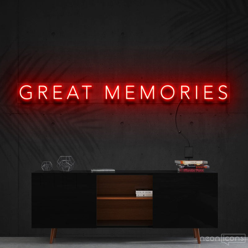 """Great Memories"" Neon Sign 120cm (4ft) / Red / Cut to Shape by Neon Icons"