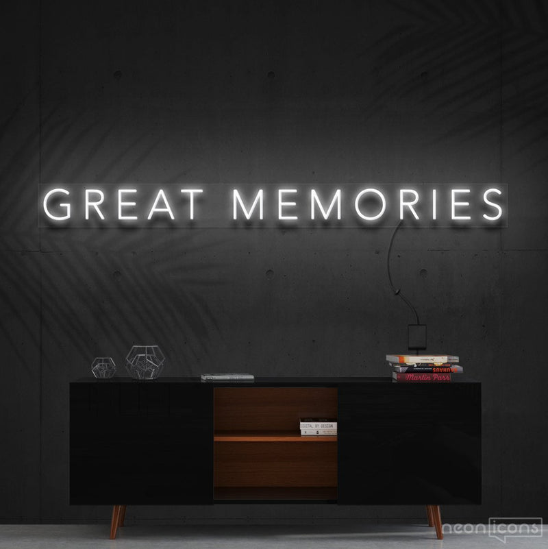 """Great Memories"" Neon Sign 120cm (4ft) / White / Cut to Shape by Neon Icons"