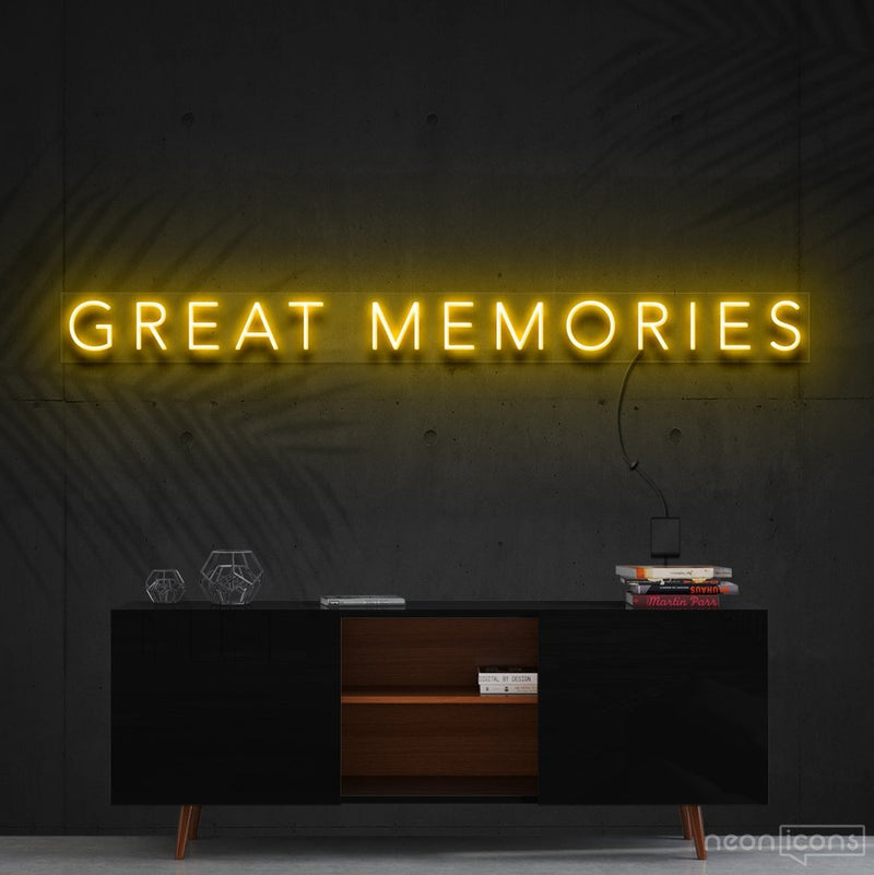"""Great Memories"" Neon Sign 120cm (4ft) / Yellow / Cut to Shape by Neon Icons"
