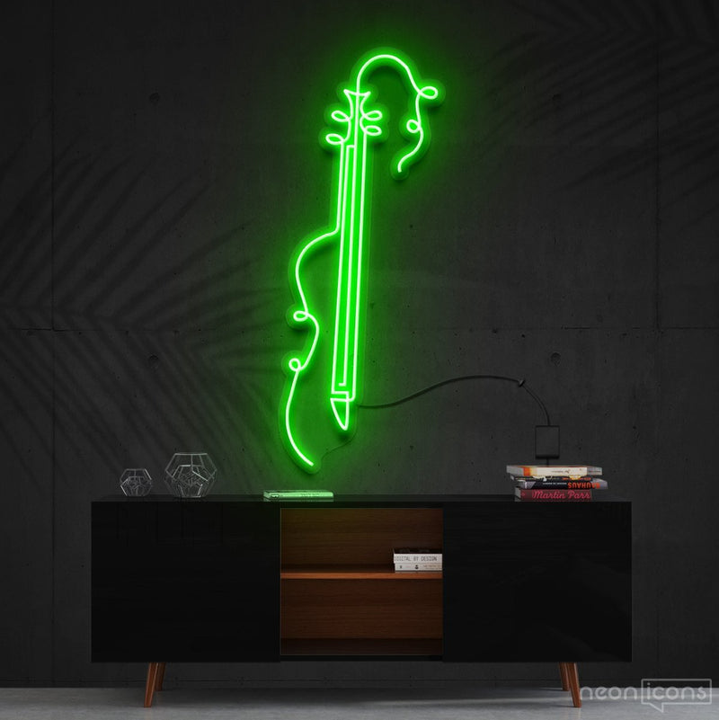 """Guitar Line Art"" Neon Sign 120cm (4ft) / Green / Cut to Shape by Neon Icons"