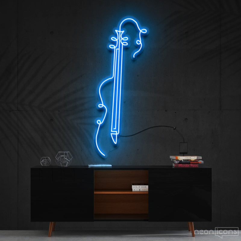 """Guitar Line Art"" Neon Sign 120cm (4ft) / Ice Blue / Cut to Shape by Neon Icons"