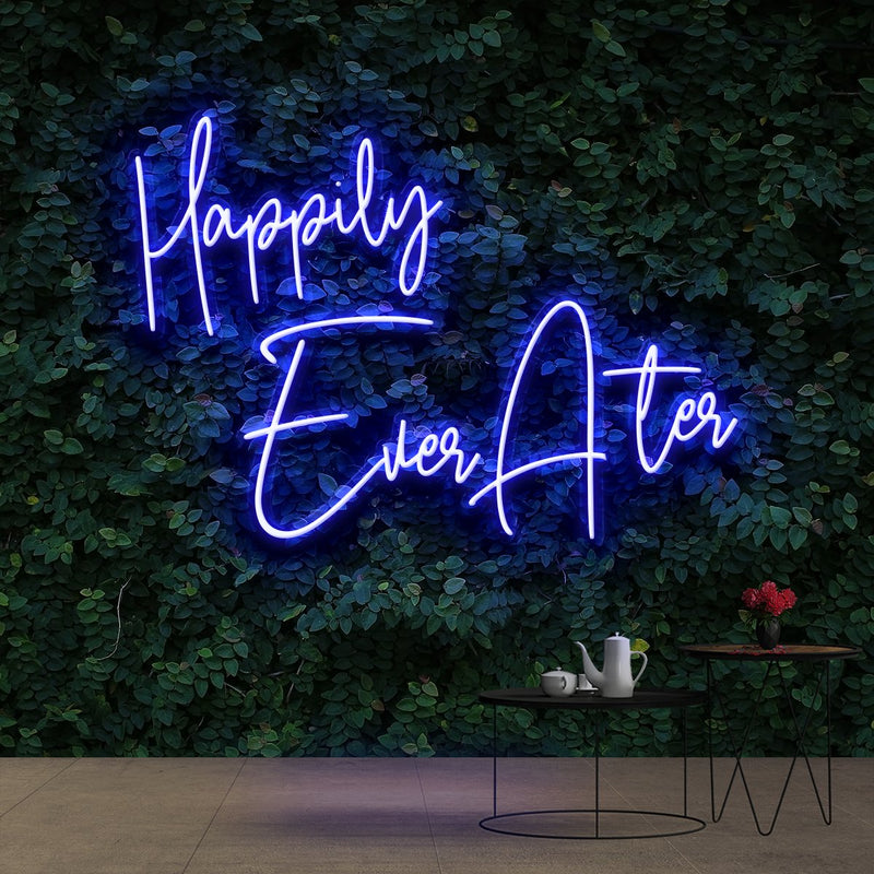 """Happily Ever After"" Neon Sign 90cm (3ft) / Blue / Cut to Shape by Neon Icons"