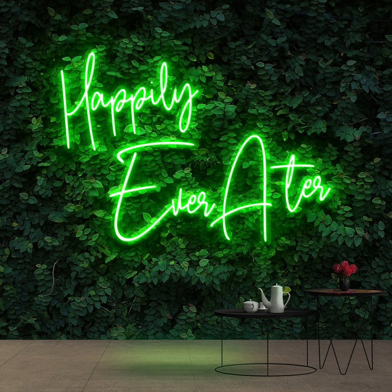 """Happily Ever After"" Neon Sign 90cm (3ft) / Green / Cut to Shape by Neon Icons"