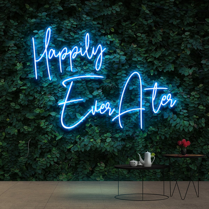 """Happily Ever After"" Neon Sign 90cm (3ft) / Ice Blue / Cut to Shape by Neon Icons"