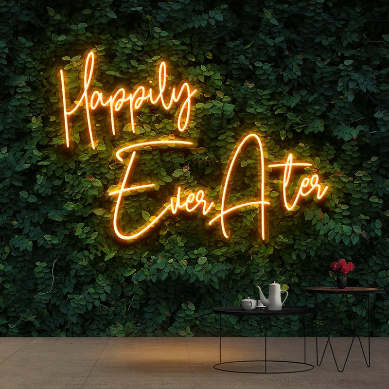 """Happily Ever After"" Neon Sign 90cm (3ft) / Orange / Cut to Shape by Neon Icons"