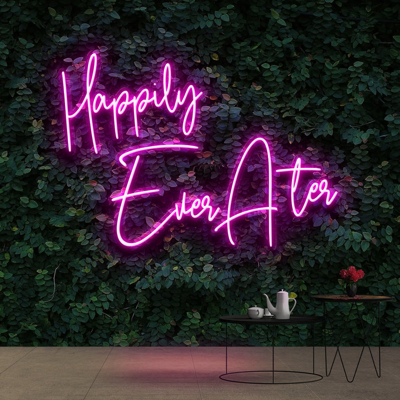 """Happily Ever After"" Neon Sign 90cm (3ft) / Pink / Cut to Shape by Neon Icons"