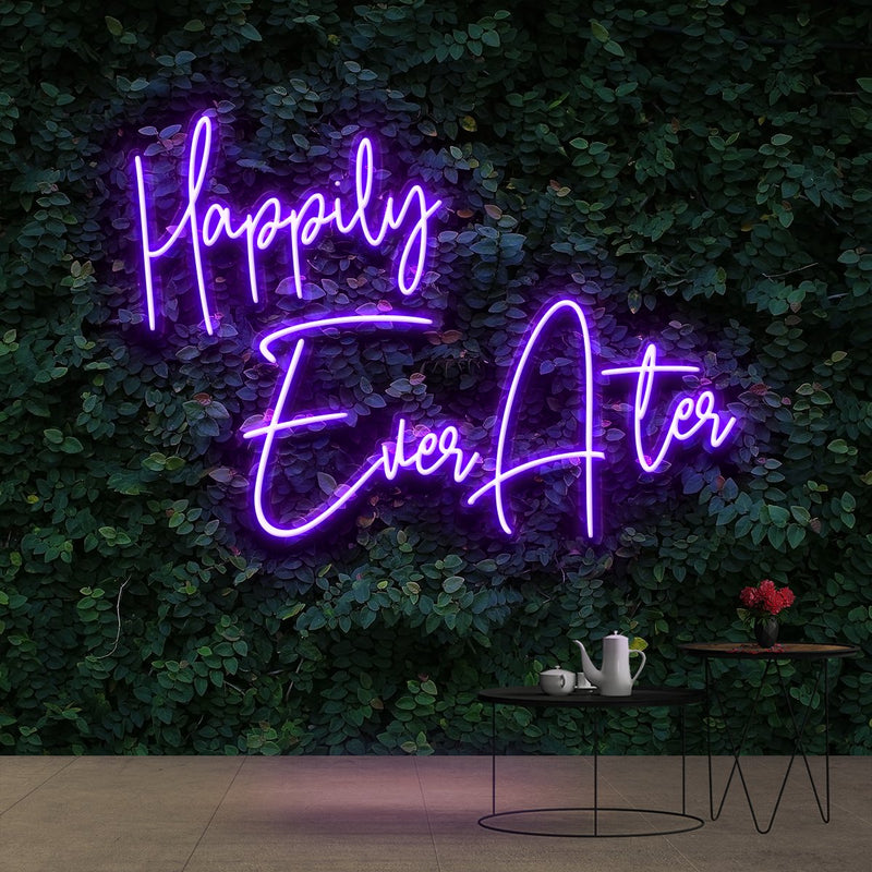 """Happily Ever After"" Neon Sign 90cm (3ft) / Purple / Cut to Shape by Neon Icons"