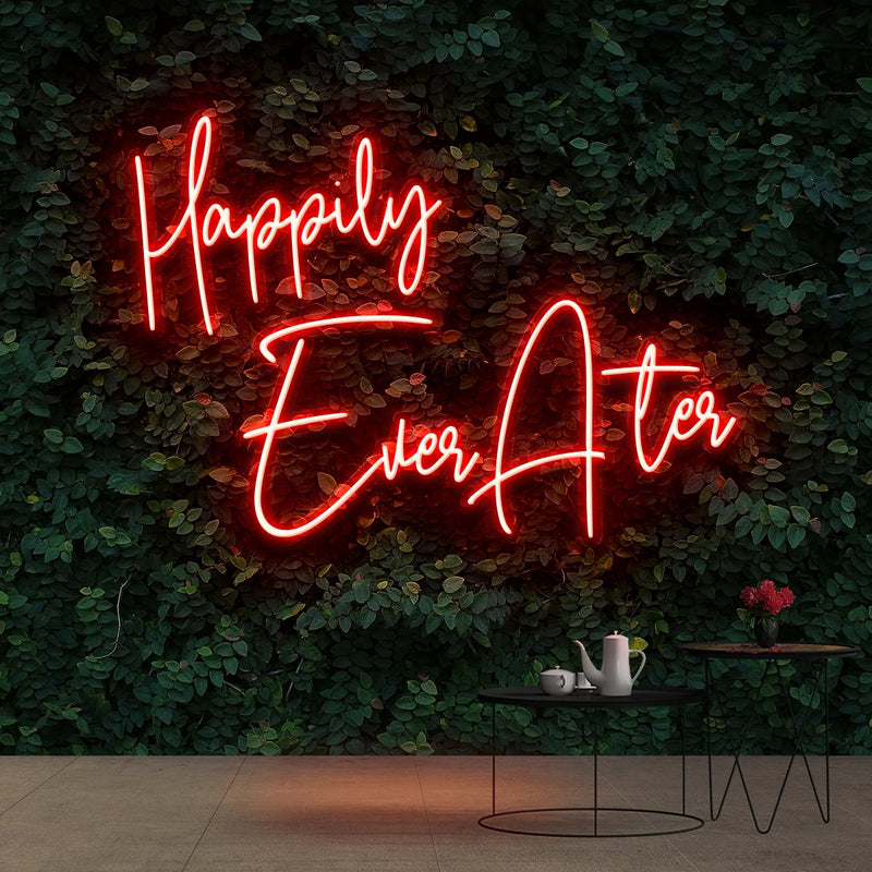"""Happily Ever After"" Neon Sign 90cm (3ft) / Red / Cut to Shape by Neon Icons"