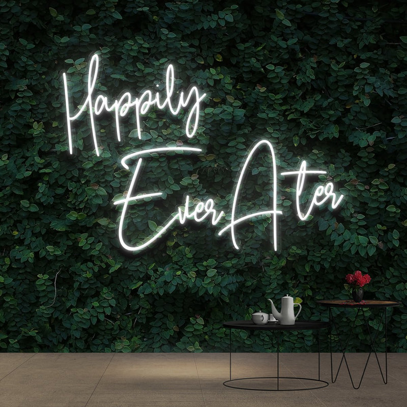 """Happily Ever After"" Neon Sign 90cm (3ft) / White / Cut to Shape by Neon Icons"