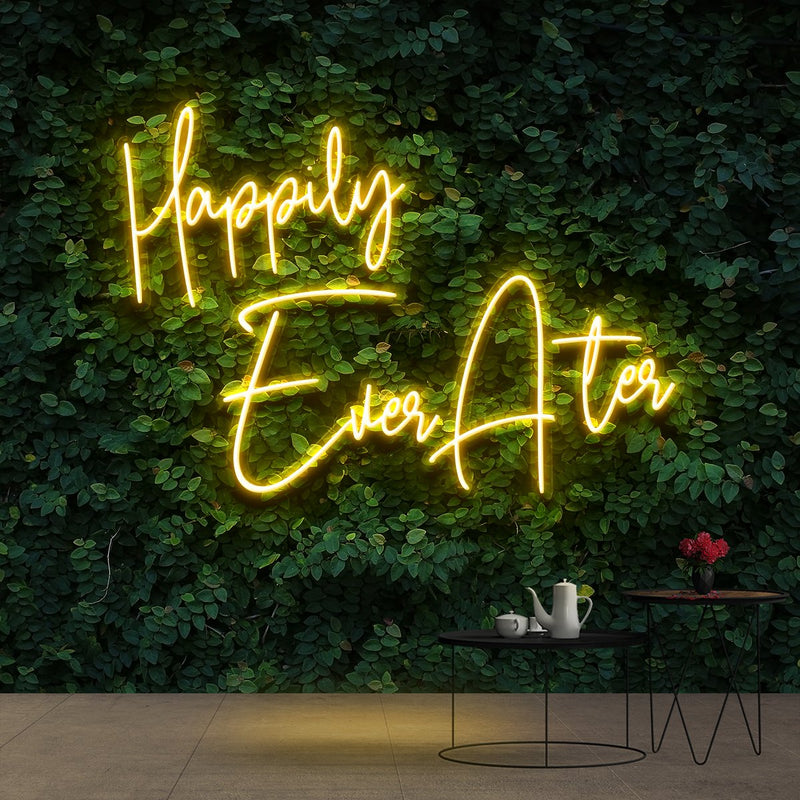 """Happily Ever After"" Neon Sign 90cm (3ft) / Yellow / Cut to Shape by Neon Icons"