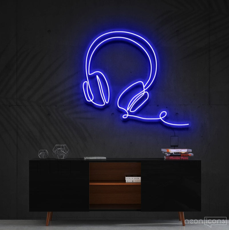 """Headphones Line Art"" Neon Sign 60cm (2ft) / Blue / Cut to Shape by Neon Icons"