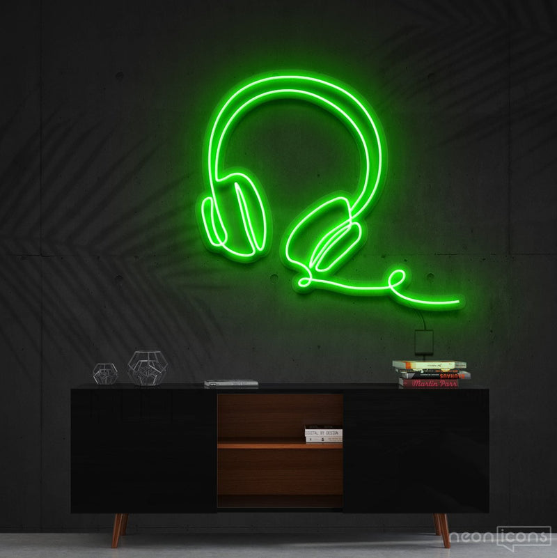 """Headphones Line Art"" Neon Sign 60cm (2ft) / Green / Cut to Shape by Neon Icons"