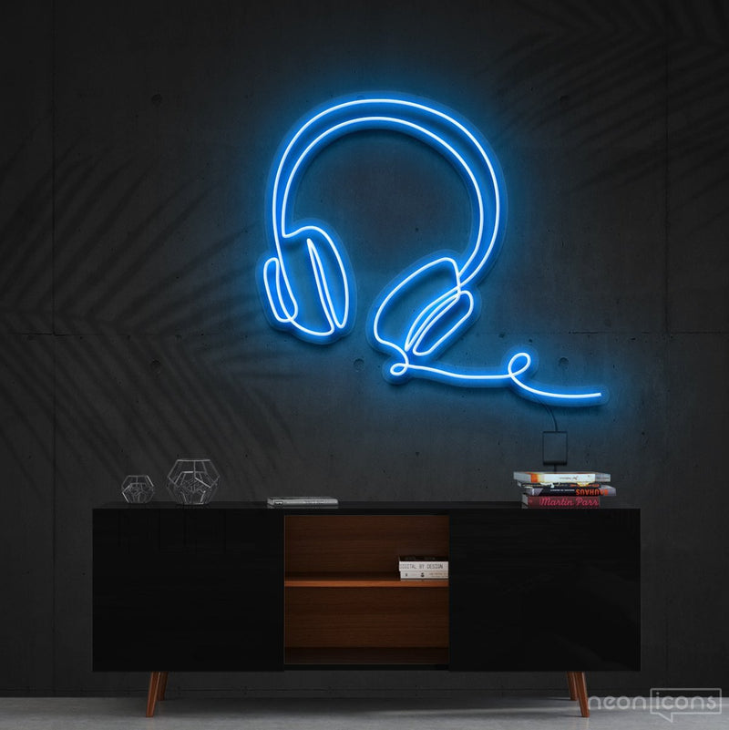 """Headphones Line Art"" Neon Sign 60cm (2ft) / Ice Blue / Cut to Shape by Neon Icons"