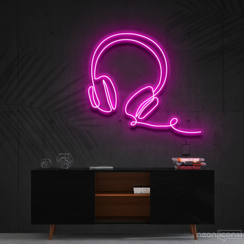 """Headphones Line Art"" Neon Sign 60cm (2ft) / Pink / Cut to Shape by Neon Icons"