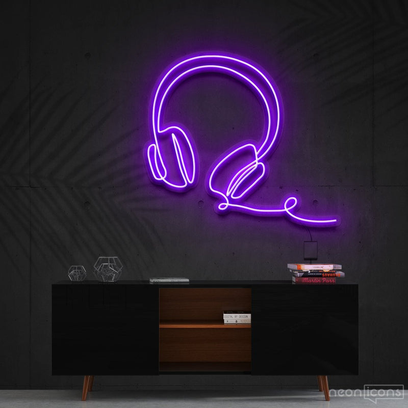 """Headphones Line Art"" Neon Sign 60cm (2ft) / Purple / Cut to Shape by Neon Icons"