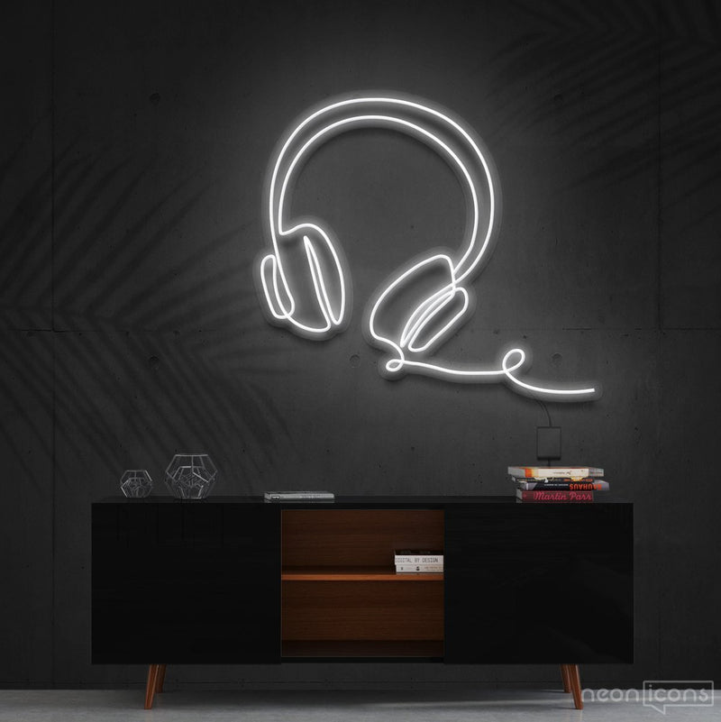 """Headphones Line Art"" Neon Sign 60cm (2ft) / White / Cut to Shape by Neon Icons"