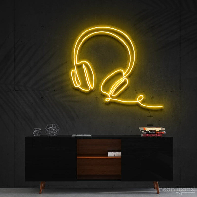 """Headphones Line Art"" Neon Sign 60cm (2ft) / Yellow / Cut to Shape by Neon Icons"