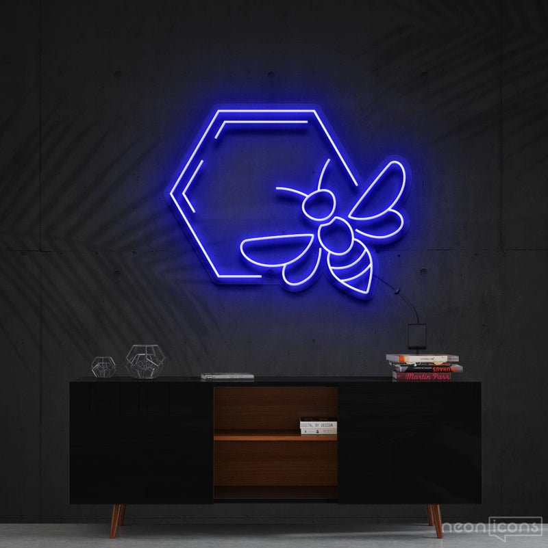 """Honeycomb Bee"" Neon Sign 60cm (2ft) / Blue / Cut to Shape by Neon Icons"