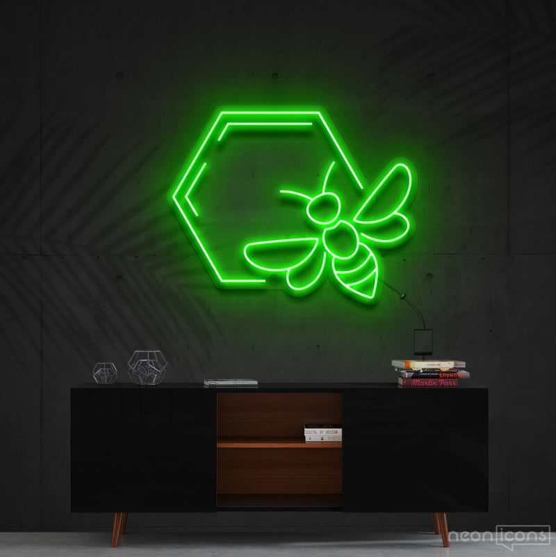 """Honeycomb Bee"" Neon Sign 60cm (2ft) / Green / Cut to Shape by Neon Icons"