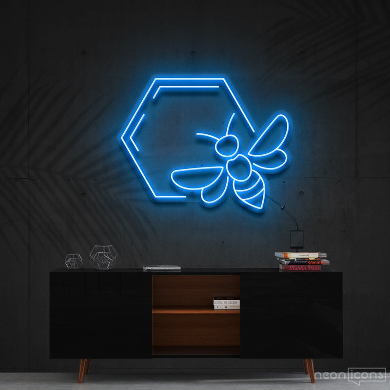 """Honeycomb Bee"" Neon Sign 60cm (2ft) / Ice Blue / Cut to Shape by Neon Icons"