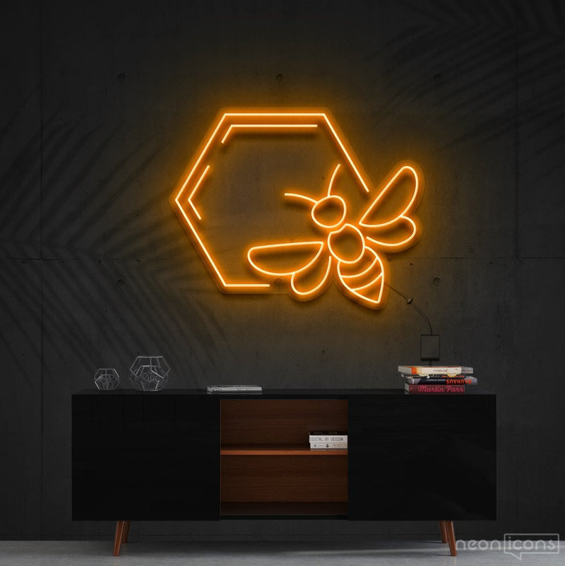 """Honeycomb Bee"" Neon Sign 60cm (2ft) / Orange / Cut to Shape by Neon Icons"