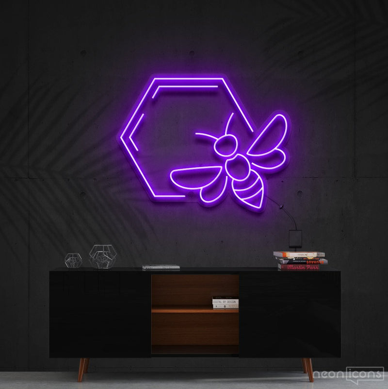 """Honeycomb Bee"" Neon Sign 60cm (2ft) / Purple / Cut to Shape by Neon Icons"